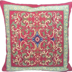 @Overstock - This Transitional throw pillow from Corona will compliment any room's decor. This throw pillow features shades of green, gold and a touch of blue on a red background.http://www.overstock.com/Home-Garden/French-Woven-Transitional-Decorative-Pillow/6609020/product.html?CID=214117 $89.99