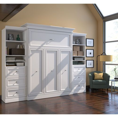 Bestar Queen Wall Bed In White With Two 25 Quot Storage Units