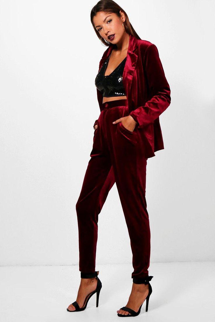 Womens Premium Velvet Suit Pants –