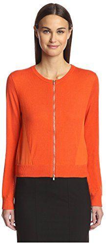 Magaschoni Women's Zip-Up Cardigan, Tuscan Orange, M