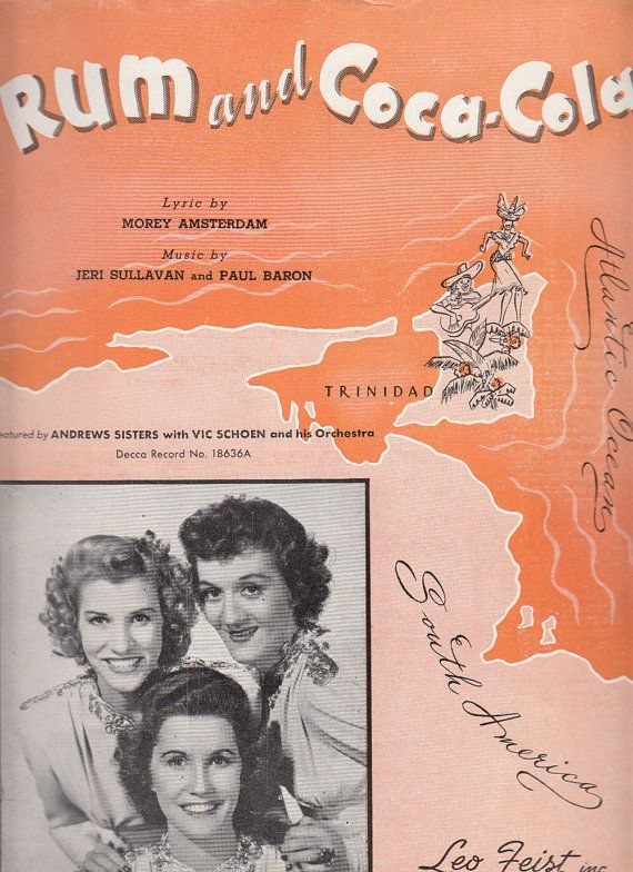 Rum and Coca-Cola 1944 Sheet Music Andrews Sisters Morey Amsterdam Jeri Sullavan