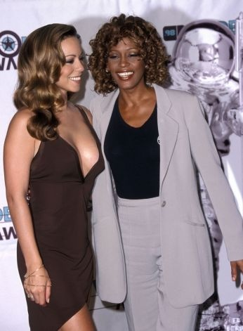 Mariah Carey and Whitney Houston, who sang When You Believe for the Prince of Egypt soundtrack, attend the MTV Video Music Awards in 1998.