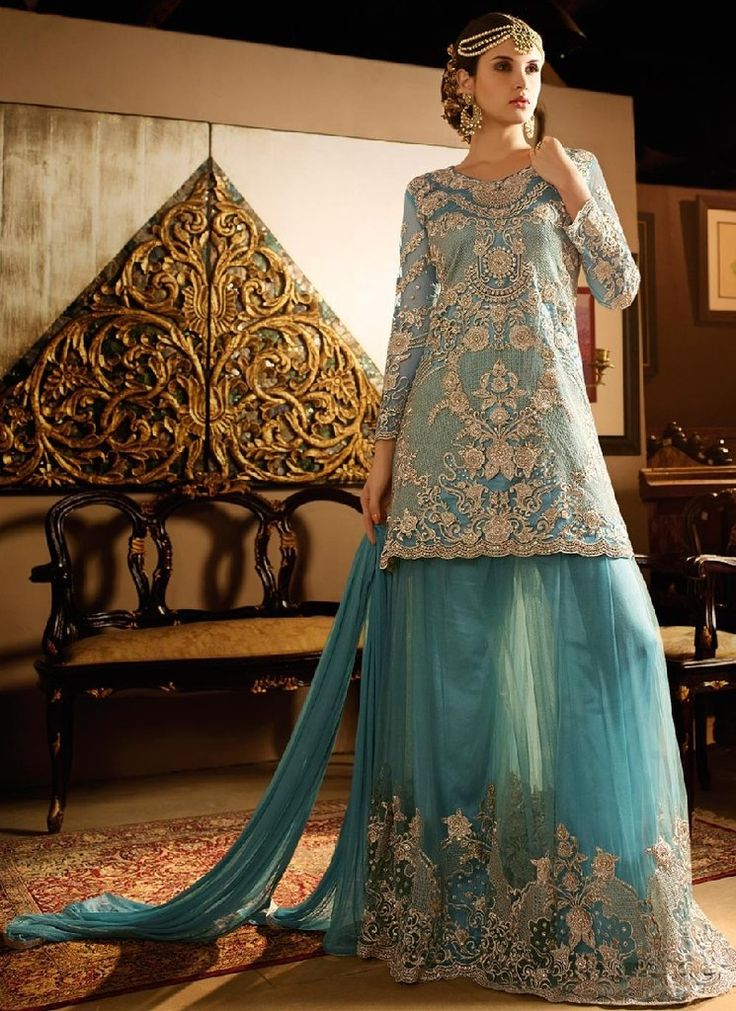 Courteous Pakistani Wedding Teal Palazzo Suit SF5120
