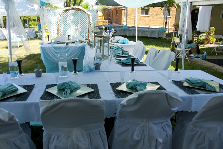 The head table- a horseshoe shape so that everyone could talk more easily