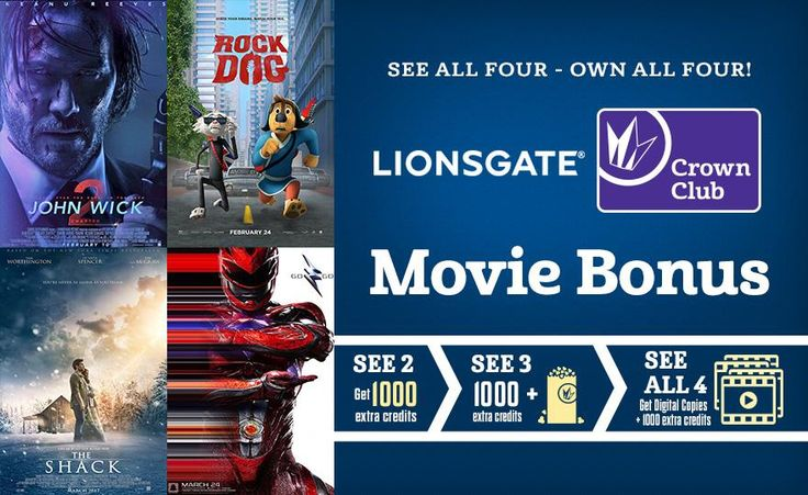 Don't miss out on our Lionsgate Movie Bonus! Crown Club members who see multiple movies from this thrilling set of Lionsgate titles can receive additional rewards including extra credits and free popcorn! Plus, members that see all four will receive a FREE digital copy of each of these titles when they become available!