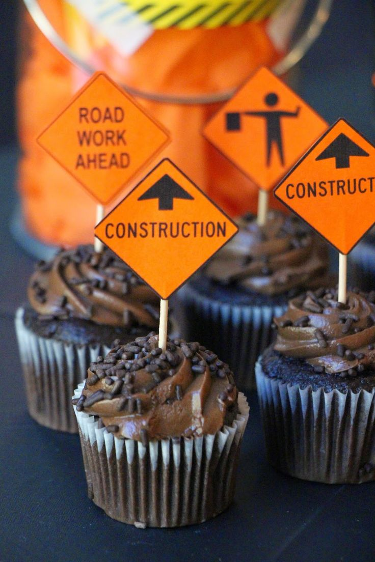 Construction Birthday Party, Mini Chocolate Cupcakes, Construction Sign Cupcake Toppers