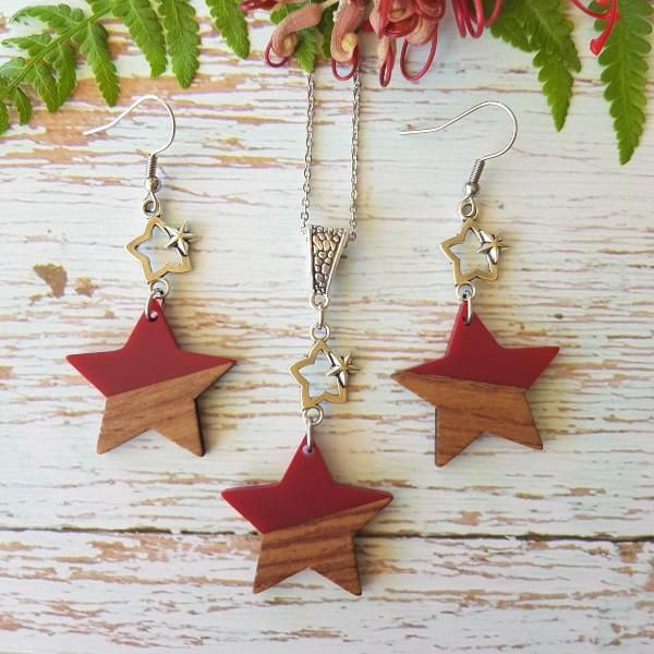 Star Resin Wood Red Set In 2020 Handmade Christmas Wishlist Christmas Ornaments