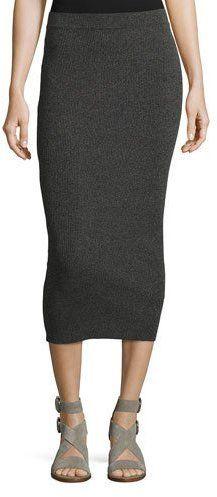 Armani Jeans Ribbed Midi Tube Skirt, Gray