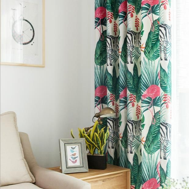 Tropical Pink Flamingo Green Palm Tree Leaf Chic Print Curtains Drapes Printed Curtains Tropical Bedrooms Curtains Living Room