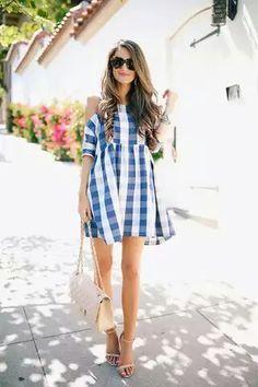 Gingham cold shoulder dress