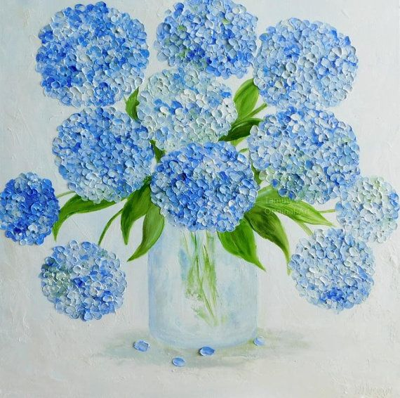 Hydrangea Oil Impasto Painting Custom Painting Etsy Flower Painting Simple Oil Painting Hydrangea Painting