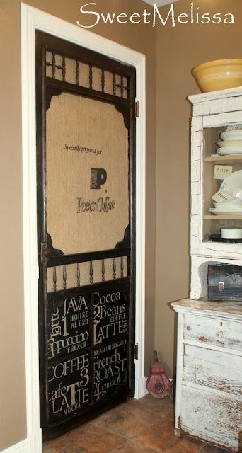 screen door gets subway art/burlap makeover & gets used as a closet door in kitchen. Love this one