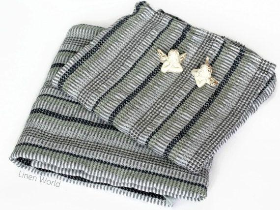 Waffle Linen Bath Towels - Linen Cotton Yoga / Spa / Sauna Towel Sheet - Soft Thin Summer Beach Towels Grey Striped Flax Woven Men's Towels