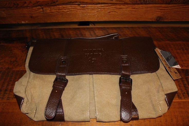 """Dr. Anison Mens Vtg Canvas Laptop Bag Messenger Briefcase khaki 13"""" computer . #DrAnison"""