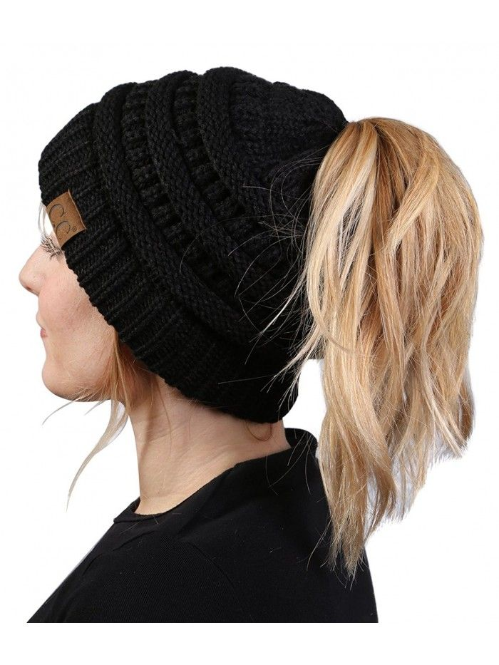 Red and Black Winter Hat Ponytail Hat Messy Bun Hat Knit Messy Bun Hat Red and Black Beanie Knit Ponytail Hat Winter Hat Beanie