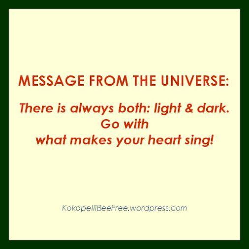 MESSAGE FROM THE UNIVERSE Light and Dark | #KokopelliBeeFree #KBFMessagesFromTheUniverse #LightAndDark