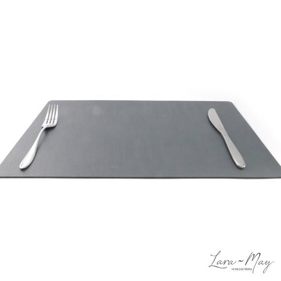 Large Leather Place Mats Sets Of 6 Slate Grey Table Mats Made In The Uk Ideal Place Mat Gift Largeplacemats Greyp Grey Placemats Leather Coasters Bbq Table