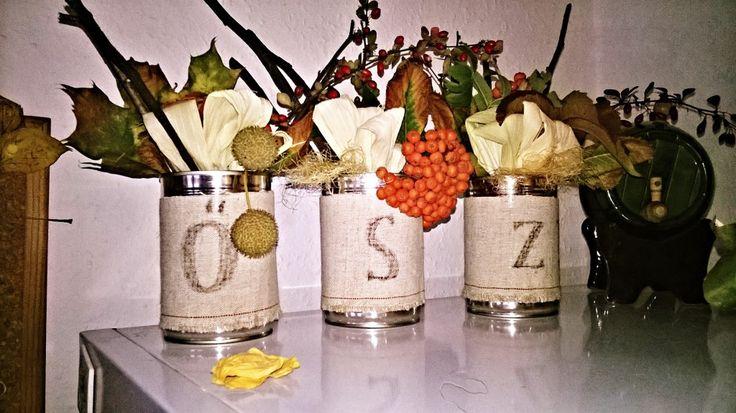 őszi dekor konzervdobozból