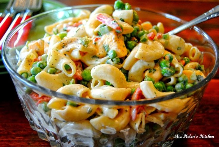 Macaroni and Pea Salad from Miz Helen's Country Cottage. An old fashioned classic that everyone loves!