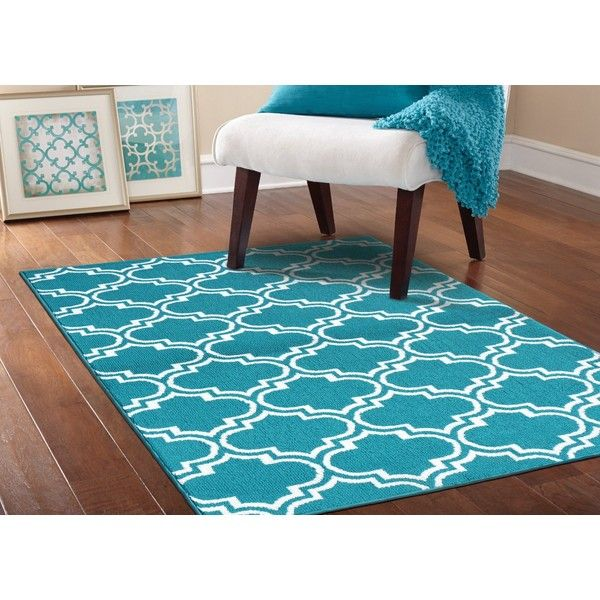 Garland Rug Silhouette Area Rug, 5 By 7 Feet, Teal/White (