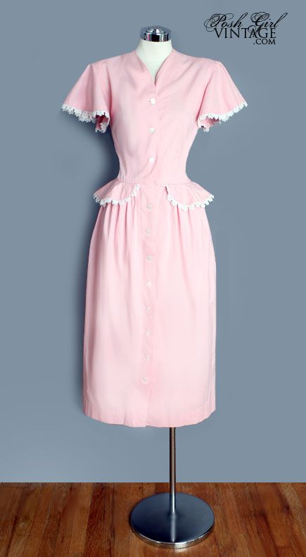 1930's Pink Cotton Day Dress