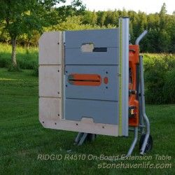 Ridgid R4510 with on-board extension table folded for moving - wm