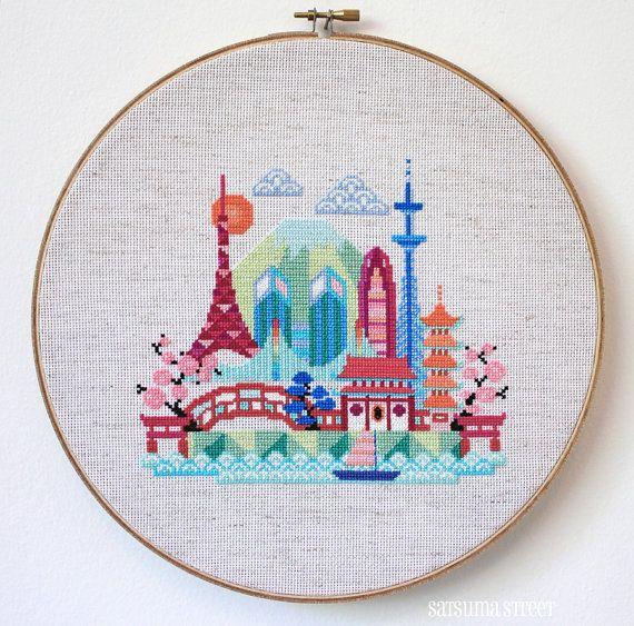 Pretty Little Tokyo  Modern Japanese Cross stitch by SatsumaStreet, $6.00