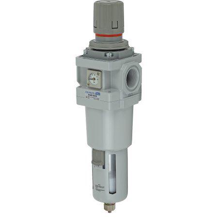 PneumaticPlus SAW600-N10BGS Compressed Air Filter Regulator Piggyback Combo 1 inch NPT, 10 Micron - Poly Bowl, Manual Drain, Bracket, Embedded Gauge
