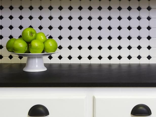 black and white tile backsplash httpwwwhgtvremodelscom - Black And White Kitchen Backsplash