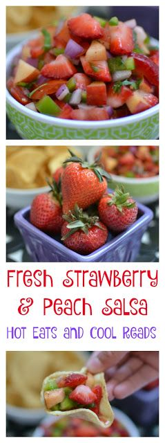 Fresh, fun and delicious! The sweet and savory flavors in this salsa are amazing! It's so perfect for spring and summer and is super easy to make! Fresh Strawberry and Peach Salsa Recipe from Hot Eats and Cool Reads