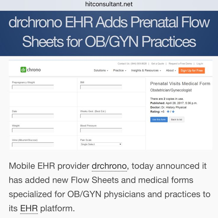 drchrono EHR Adds Prenatal Flow Sheets for OB/GYN Practices  http://hitconsultant.net/2017/05/05/drchrono-flow-sheets-ob-gyn/