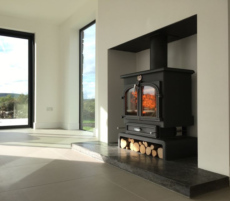 Sand and Sawn polished concrete hearth graphite