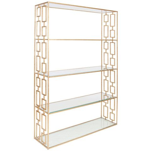 Worlds Away Hammered Etagere with Clear Glass Shelves HAYS G – Benjamin Rugs & Furniture