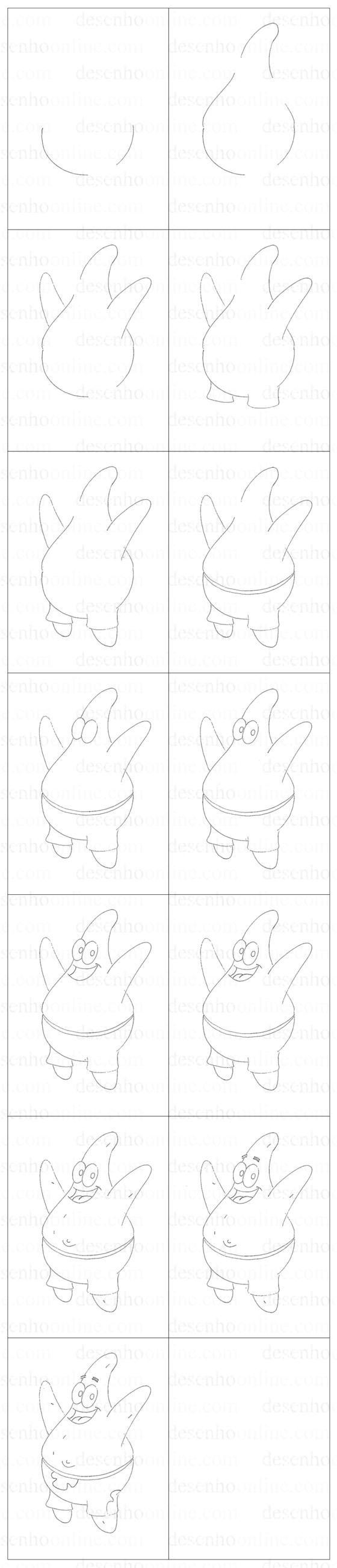 como desenhar o patrick passoa a passo desenhoonline.com