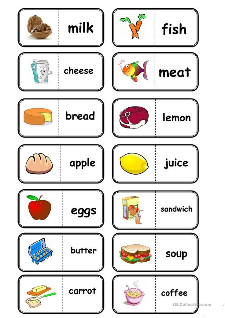 food domino with images  english lessons for kids