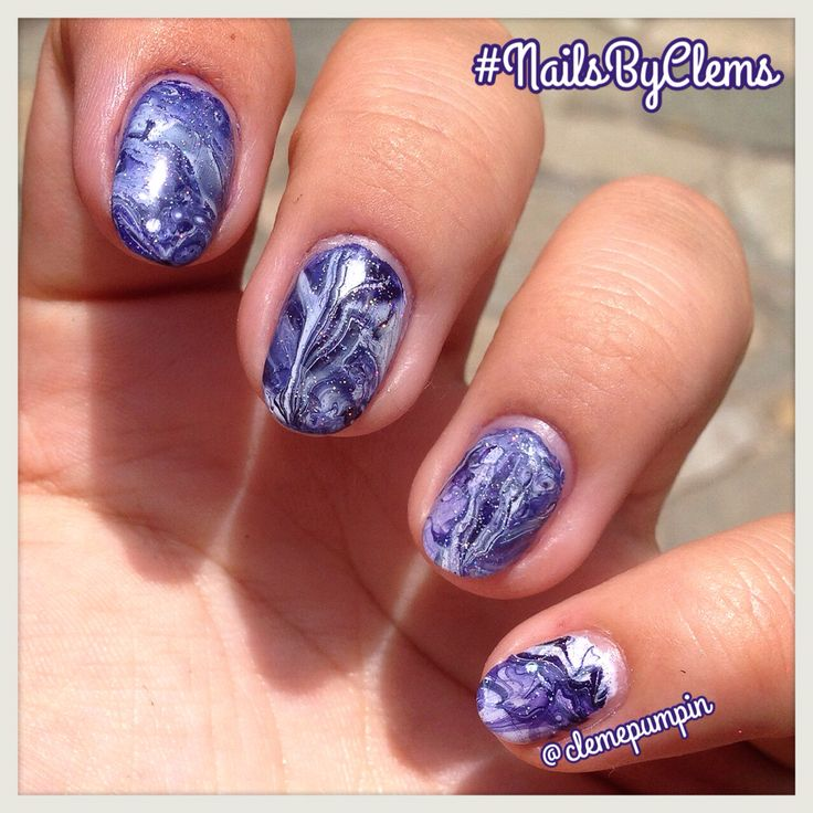 """Hi there! This is my first try at #watermarble  I'm not sure if I like it or not haha used @opi_products """"Road House Blues"""" and @chinaglazeofficial """"Snow"""" topped with """"Fairy Dust""""  tried a lot of different colors and brands but only these two seemed to work properly for this technique. Girls! Question: What polishes do you use for watermarble that work correctly? Thanks! #notd #nails #nailart #nailsdid #nailswag #nailstyle #"""