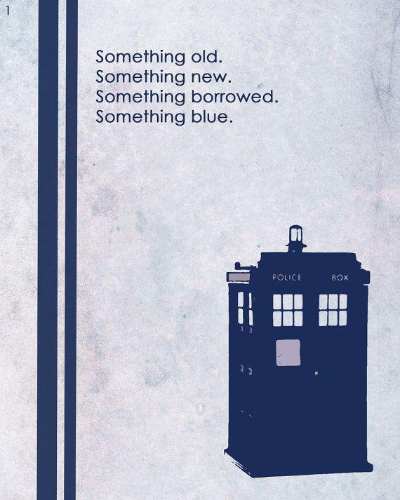 Something old. Something new. Something borrowed. Something blue.   I totally want a tardis on my wedding day