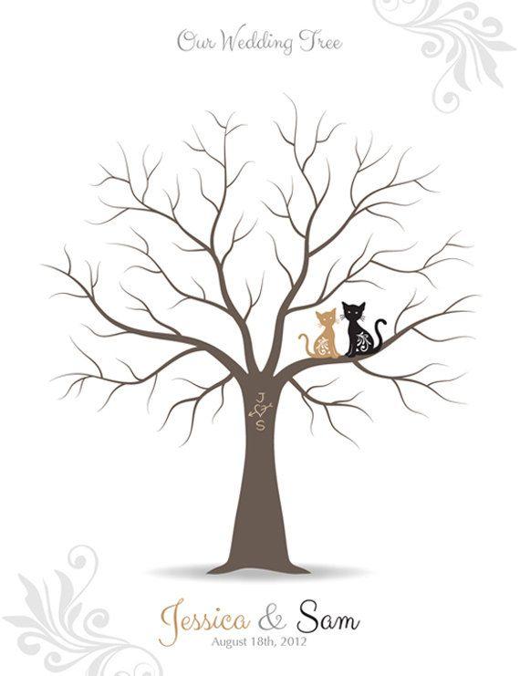 Vingerafdruk gastenboek bruiloft boom met katten door TJLovePrints