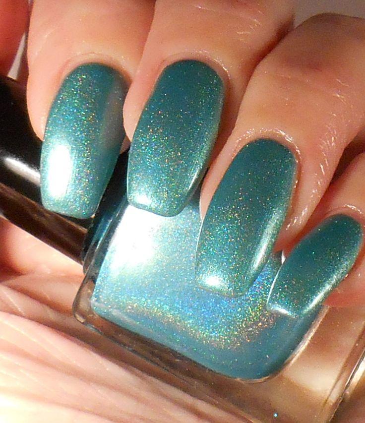 Lazy Gazer - holographic shimmery aqua nail polish by PromisePolish on Etsy