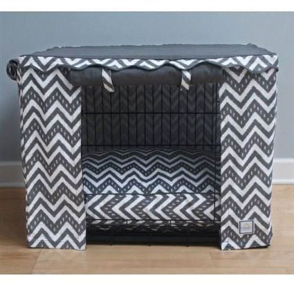 This Grey And White Canvas Crate Cover Will Update Any Metal Into A Luxury Dog Bed Surround Your With Sense Of Security