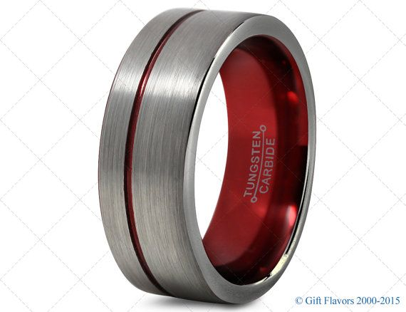 Mens Tungsten Ring,Red 8mm Men Tungsten Rings,Red Wedding Bands,RIng,Mens Band,Red Men Wedding Band, Women Ring Band,Set His 10
