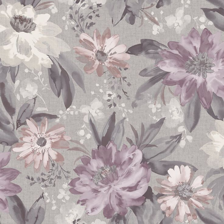 Arthouse Painted Dahlia Heather Wallpaper. Painted Dahlia is a beautiful soft vintage floral with delicate tones of greys, heathers and pinks.