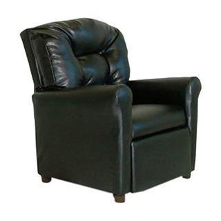 Dozydotes 4 Button Kids Child Recliner Chair - Black Leather Like (Black)