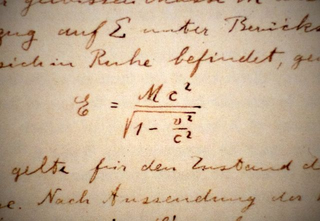 The first occurrence of Einstein's E=MC^2 equation, in his own writing.