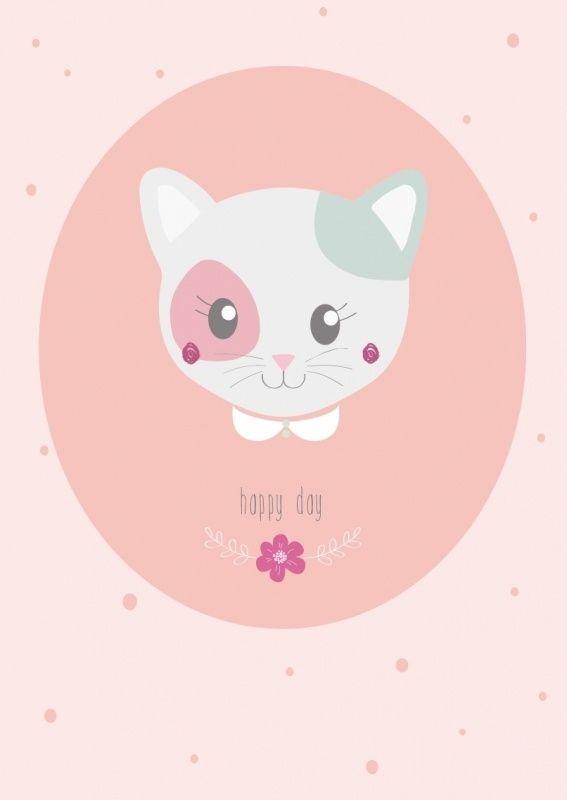 Kaart Poes Happy Day Lieve ansichtkaart met poes en tekst Happy Day. Gedrukt met milieubewuste inkt. Ontwerp: Petite Louise.