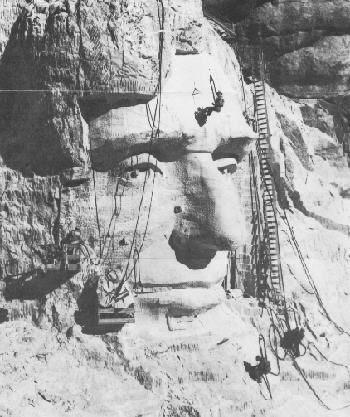 President Lincoln in progress on Mount Rushmore.