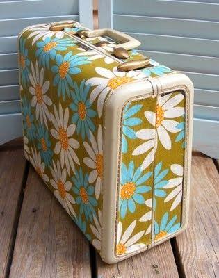 Vintage luggage: Podge Suitcases, Modg Podge, Projects, Idea, Vintage Suitcases, Old Suitca, Mod Podge, Vintage Fabrics, Vintage Luggage