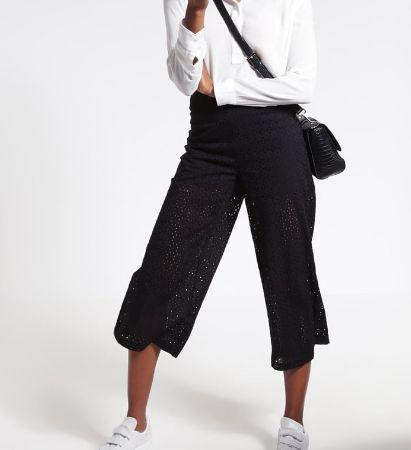 JUST FEMALE Spodnie materiałowe koronkowe kuloty black