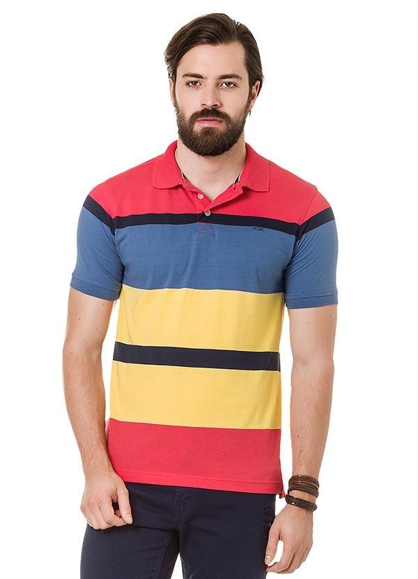 Camisa Polo Listrada Hangar 33 Laranja  R$ 99,99
