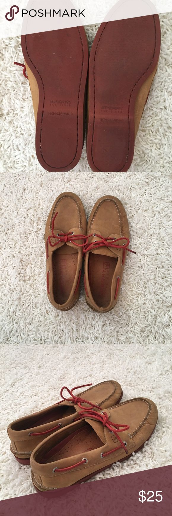 Men's Original Sperry Top-Siders Size 11.5 Gently worn.  Tan and Red.  Size 11.5. Leather. Sperry Top-Sider Shoes Boat Shoes